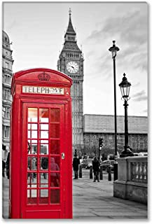 SmartWallArt - City Landscape Paintings Wall Art Decor a Traditional Red Phone Booth in London with The Big Ben in a Black and White Background Picture Print on Canvas for Modern Home Decoration