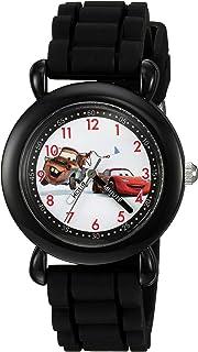 DISNEY Boys' Cars Analog-Quartz Watch with Silicone Strap, Black, 16 (Model: WDS000001