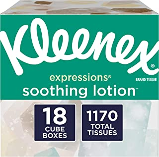 Kleenex Expressions Soothing Lotion Facial Tissues With Coconut Oil, Aloe & Vitamin E, 18 Cube Boxes, 65 Tissuesper Box (1, 170 Tissues Total)