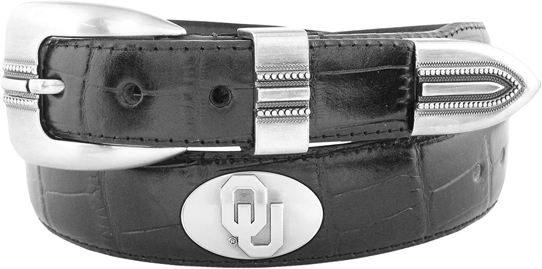 NCAA Oklahoma Sooners Crocodile Tip Leather Concho Belt