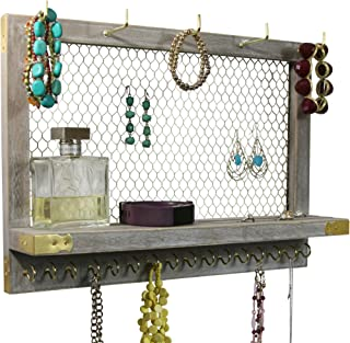 OUTSHINE Large Rustic Farmhouse Vintage Wall Mounted Hanging Jewelry Organizer, Perfect Holder for Earrings Necklaces Bracelets-Gold Chicken Wire, Present for Women, Wife, Mom, Girlfriend (Rustic)