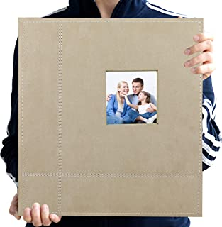 Zoview Art Magnetic Self-Stick Page Photo Album, Family Album, Suede Cover, Hand Made DIY Albums Holds 3X5, 4X6, 5X7, 6X8,8X10 Photos (Jasmine, Large)