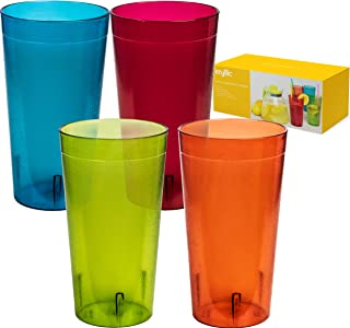 Reusable Plastic Cup Drinkware Tumblers - 4 Assorted colors break resistant 20 oz dishwasher safe drinking stacking water glasses cups! great decorations restaurant quality suitable 4 toddler & kids!