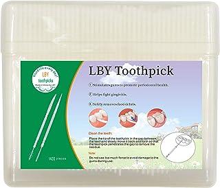 LBY 1400pcs Plastic Toothpicks, Interdental Toothpicks Round Single Head Toothpick, Toothpick Teeth Cleaning Tool,Plastic White