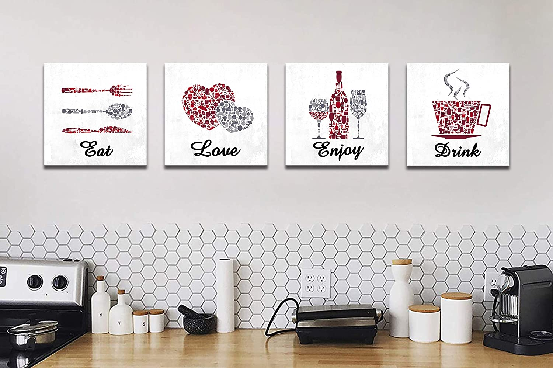 KALAWA Inspirational Kitchen Signs Restaurant Wall Decor Funny Red Maroon  Grey White Cafe Bar Wall Decor Eat Drink Love Enjoy Farmhouse Dining Room  ...
