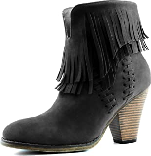Women's Double Fringe High Top Ankle Booties High Heel Western Cowboy Boot