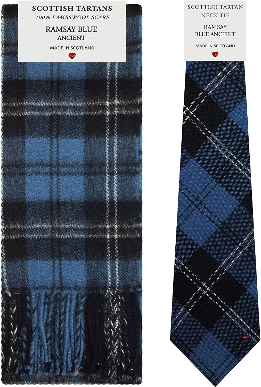 Ramsay Blue Ancient Tartan Plaid 100% Lambswool Scarf & Tie Gift Set