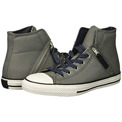 Converse Kids Chuck Taylor All Star Pull-Zip Hi (Little Kid/Big Kid) (Mason/Obsidian/Light Racer Blue) Boy