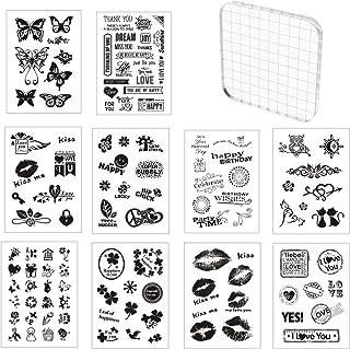 Tampon Silicone Scrapbooking, 10 Pièces Tampons Transparents avec 1 Pièces Tampon Encreur Acrylique 10x10 cm, Tampons Clea...
