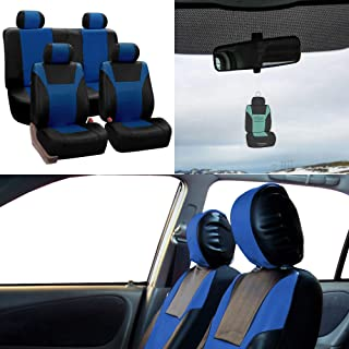 FH Group PU003114 Racing PU Leather Full Set Car Seat Covers, Airbag & Split Ready w. Free Airfreshener, Blue/Black Color - Fit Most Car, Truck, SUV, or Van
