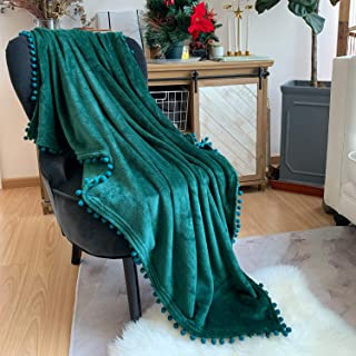 LOMAO Flannel Blanket with Pompom Fringe Lightweight Cozy Bed Blanket Soft Throw Blanket fit Couch Sofa Suitable for All Season (51x63) (Green)