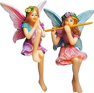 Mood Lab Fairy Garden - Miniature Fairies Figurines - Sitting Girls Set of 2 pcs - Decorations Statue Kit