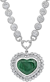Dazzlingrock Collection Heart Colombian Emerald & Round White Diamond Ladies Halo Style Necklace, White Diamond G Color; V...