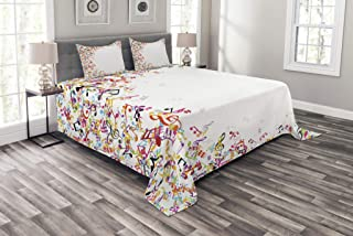 Ambesonne Music Bedspread, Colorful Musical Notes with Frame Festival Singing Enjoyment Fashion Themed Print, Decorative Quilted 3 Piece Coverlet Set with 2 Pillow Shams, Queen Size, White Yellow