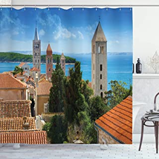 Ambesonne European Cityscape Decor Collection, Aerial View of Old Town Croatia with Historical Towers Heritage Art Print Decor, Polyester Fabric Bathroom Shower Curtain Set with Hooks, Multi