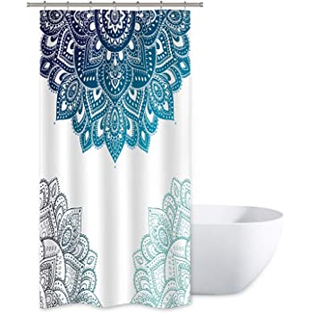 Ufaitheart Fashion Checkered Shower Curtain 54 x 72 Inch Stall Shower Curtain Fabric Bath Curtain Artistic Decorative Beige Multi Color-Turquoise White Gray