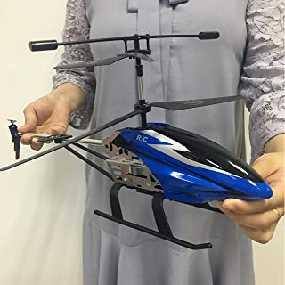 GLORY168 Remote Control Helicopter with Batteries 3.5GHZ Channel,50cm Length Large Size Alloy RC Helicopter Toy and Gyro- Blue for Kids and Adults