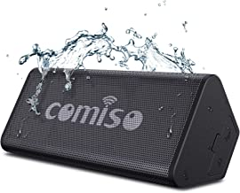 COMISO Bluetooth Speakers, IPX7 Waterproof Wireless Portable Speaker Loud Crystal Clear Stereo Sound, Rich Bass, 20 Hour Playtime, Dual-Driver Built-in Mic for Party, Travel, Outdoor, Backyard (Black)