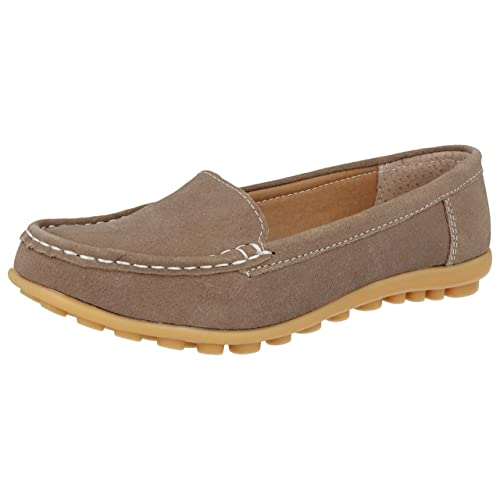 46418e8e346 Koo-T Ladies Womens Loafer Shoes Suede Leather Driving Comfortable Flats  Summer Deck Size 3