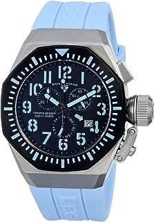 Swiss Legend Men's 10540-01-BB-BBLA Trimix Diver Chronograph Black Dial Light Blue Silicone Watch