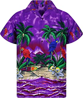 Funky Hawaiian Shirt Men Shortsleeve Frontpocket Hawaiian-Print Parrot Flowers
