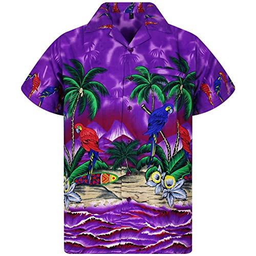 680510c9 Funky Hawaiian Shirt Men Shortsleeve Frontpocket Hawaiian-Print Parrot  Flowers