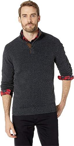 Cotton-Button Mock Sweater