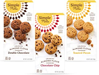 Simple Mills, Cookies Variety Pack, Chocolate Chip, Double Chocolate Chip, Toasted Pecan Variety Pack, 3 Count (Packaging ...