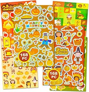 Crenstone Thanksgiving Stickers Party Supplies Pack -- Over 320 Autumn Harvest Stickers (Party Favors, Decorations)