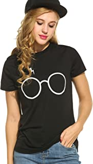 Women's Casual Glasses Scar Print Tee Graphic Short/Long Sleeve T-Shirt Tops