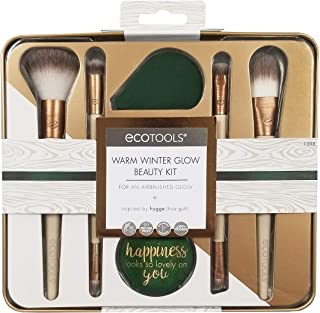 Ecotools Warm Winter Glow Kit Complete Brush Collection for Applying Foundation, Highlighter, Concealer, Powder, Blush & Eye Color