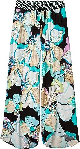 Sintra Flora Split-Leg Beach Pants Swimsuit Cover-Up