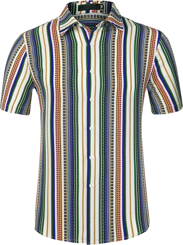 Lars Amadeus Men's Summer Color Block Button Down Short Sleeve Vertical Colorful Striped Shirt