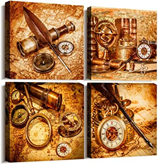 Nautical Map compass Vintage Golden Canvas Wall Art for office Canvas Prints Artwork 4 Piece bedroom Wall Decor Watercolor paintings kitchen wall decorations for living room Home Decor Wall painting
