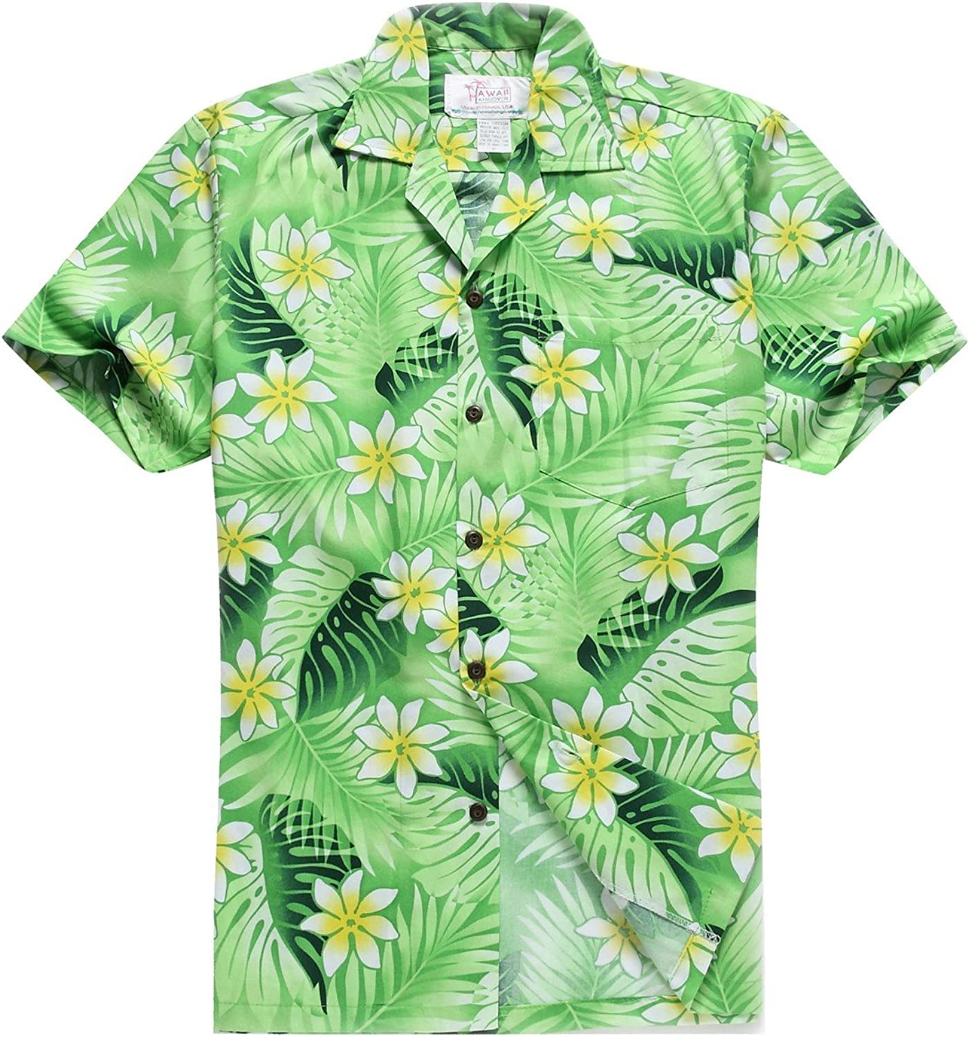 - Made in Hawaii Men's Hawaiian Shirt in Classic Classic Classic Leaves with Plumeria in Green f3a3e4