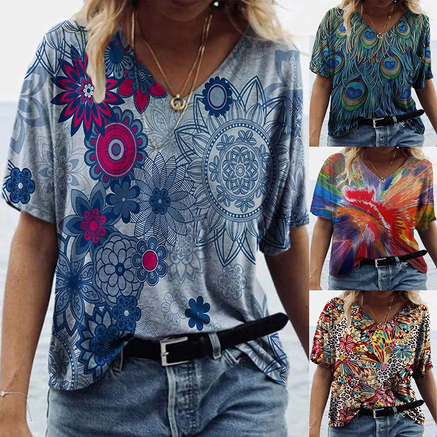 POLLYANNA KEONG Cute Summer Tops for Women,Womens Tops V Neck Summer Floral Printed Casual Loose Shirts Tunic Blouses