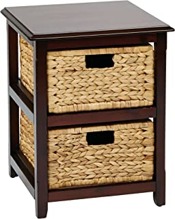OSP Designs Office Star Seabrook 2-Tier Storage Unit with Natural Baskets, Espresso