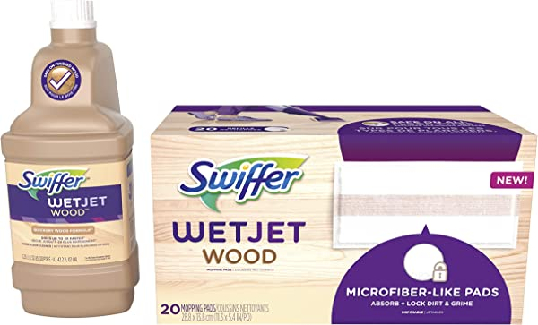 Swiffer WetJet Wood Floor Mopping And Cleaning Refill Bundle All Purpose Floor Cleaning Products Includes 20 Pads 1 Cleaning Solution