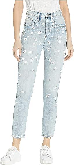 Denim Floral Embellished Girlfriend Jeans