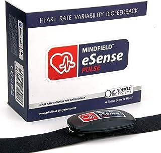 Mindfield eSense Sensor de frecuencia cardíaca y pulsómetro con App para teléfono inteligente | Monitor de pulso con cinta de pecho | Pack: banda, medidor, batería y biofeedback
