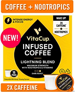 VitaCup Lightning Blend Nootropic Coffee Pods 16ct Intense Energy Focus   Vitamin-Infused Coffee   2X Caffeine   Vegan   Vitamin B1, B5, B6, B9, B12, D3   Compatible K-Cup Brewers Including Keurig
