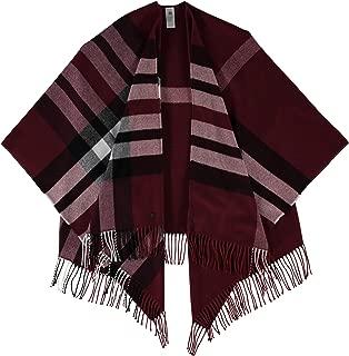 Qitun Damen Poncho Azteken Muster Winter Reversible Umhang /Überwurf Cape Wrap Wendeponcho mit Fransen