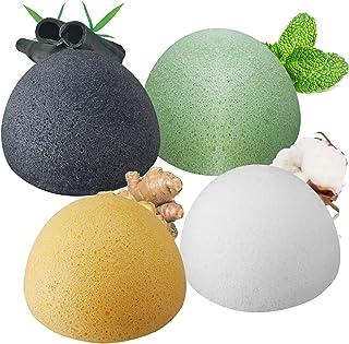 Konjac Éponge Visage (Lot de 4), ENSOBO Set d'éponge Konjac pour Nettoyage et l'exfoliation Profond des Pores, 100% Nature...