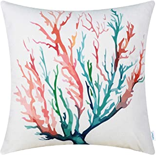 CaliTime Canvas Throw Pillow Cover Shell for Couch Sofa Home Decoration Aquarelle Painting Print 18 X 18 Inches Sea Coral Tree Coral Teal