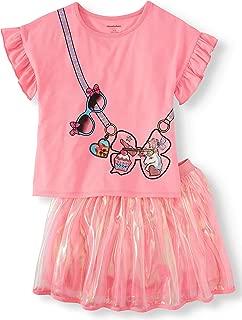 Girls JoJo Siwa Ruffle Shirt and Organza Tutu Skirt 2 Pc Outfit Set