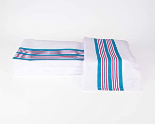 Linteum Textile (12-Pack, 30x40 in) Receiving Hospital Baby Blankets, 100% Cotton, Classic White w/Blue & Pink Stripes