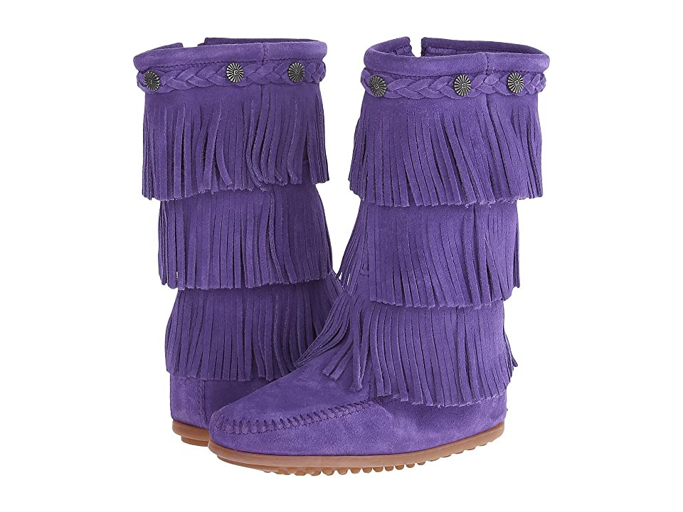 Minnetonka Kids 3-Layer Fringe Boot (Toddler/Little Kid/Big Kid) (Purple Suede) Girls Shoes