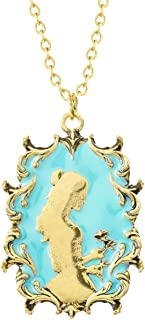 Disney Beauty and The Beast Antique Worn Gold Tone Princess Belle Cameo Pendant Necklace, 34 Inch Chain