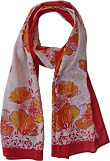 Hummingbird Scarf and California Poppy Scarf: Sheer Soft Cotton