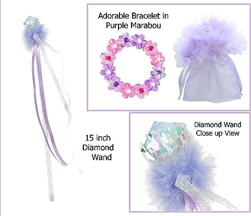 Diamond Wand with Lavender Marabou includes Rosa & lila Flower Bracelet - Princess Stocking Stuffers
